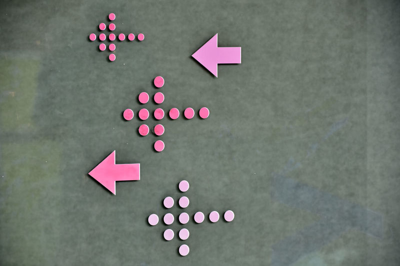 Abstract Arrows Directional Sign Information Multi Colored Pattern Pink Shape Turn Left The Graphic City