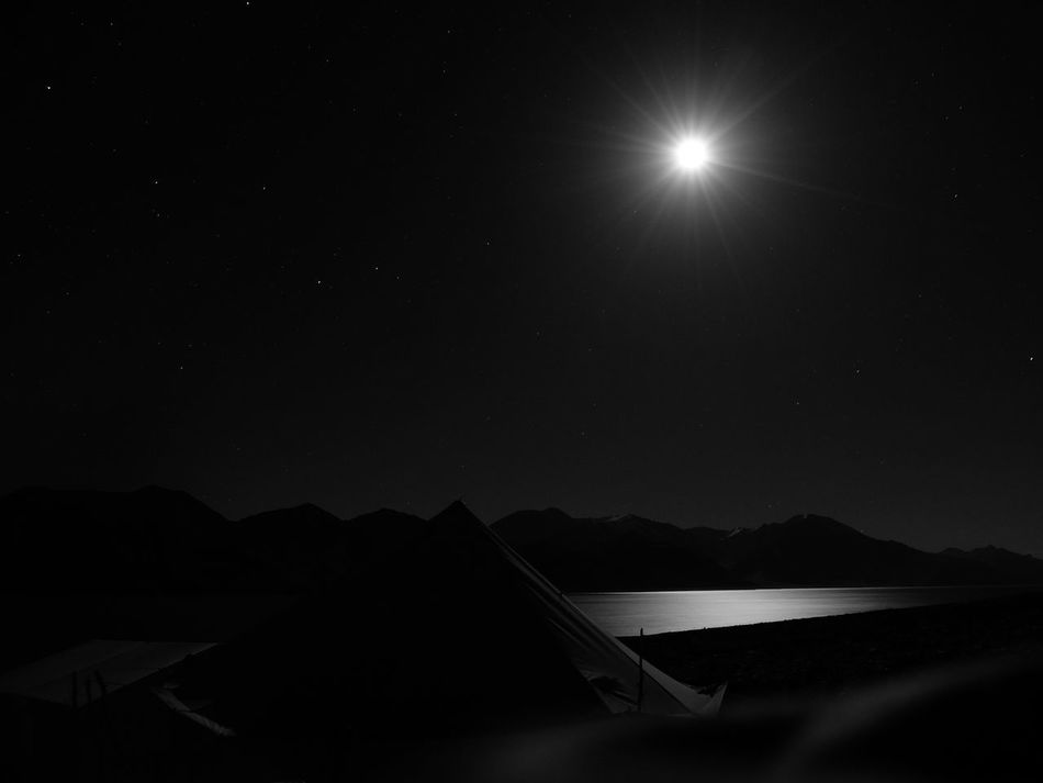 Astronomy Beauty In Nature Black And White Photography Camping Jammu And Kashmir Lake Landscape Leh Ladakh Mountain Nature Night No People Outdoors Pangong Lake Pangong Tso Scenics Sky Star - Space Tent Water