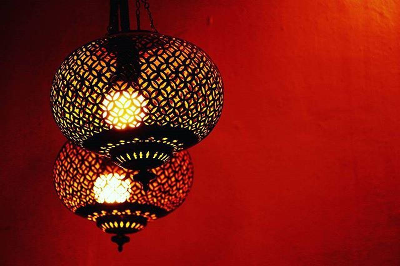 lighting equipment, hanging, illuminated, red, lantern, no people, indoors, close-up, day