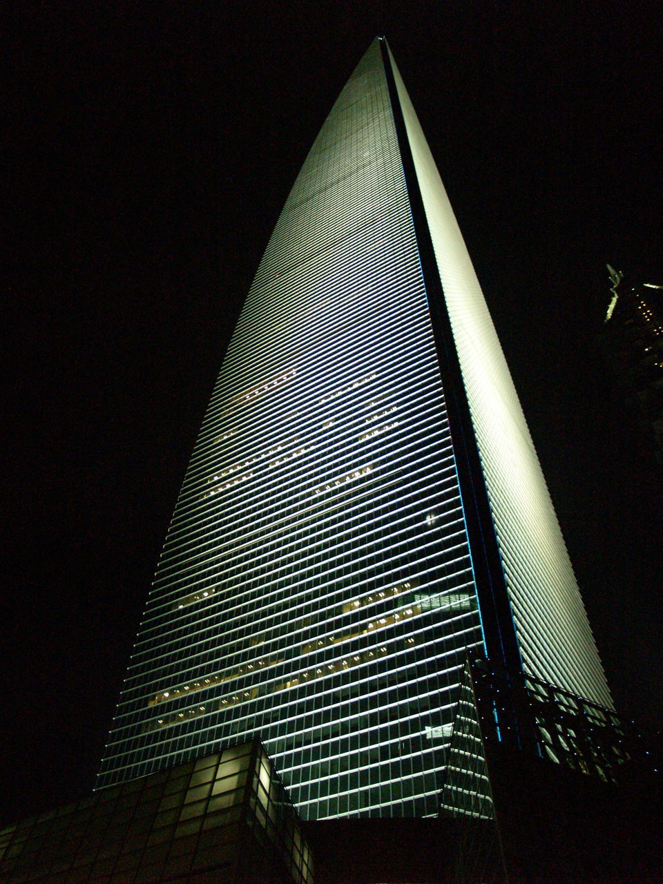 architecture, built structure, low angle view, modern, building exterior, no people, illuminated, indoors, skyscraper, travel destinations, pyramid, day, sky