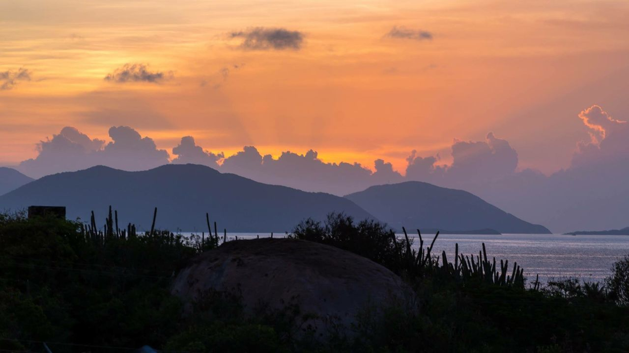 Island silhouettes Rocks Virgin Gorda Bvi Tortola Clouds And Sky Palm Trees Light And Shadow Landscape Orange Sunset