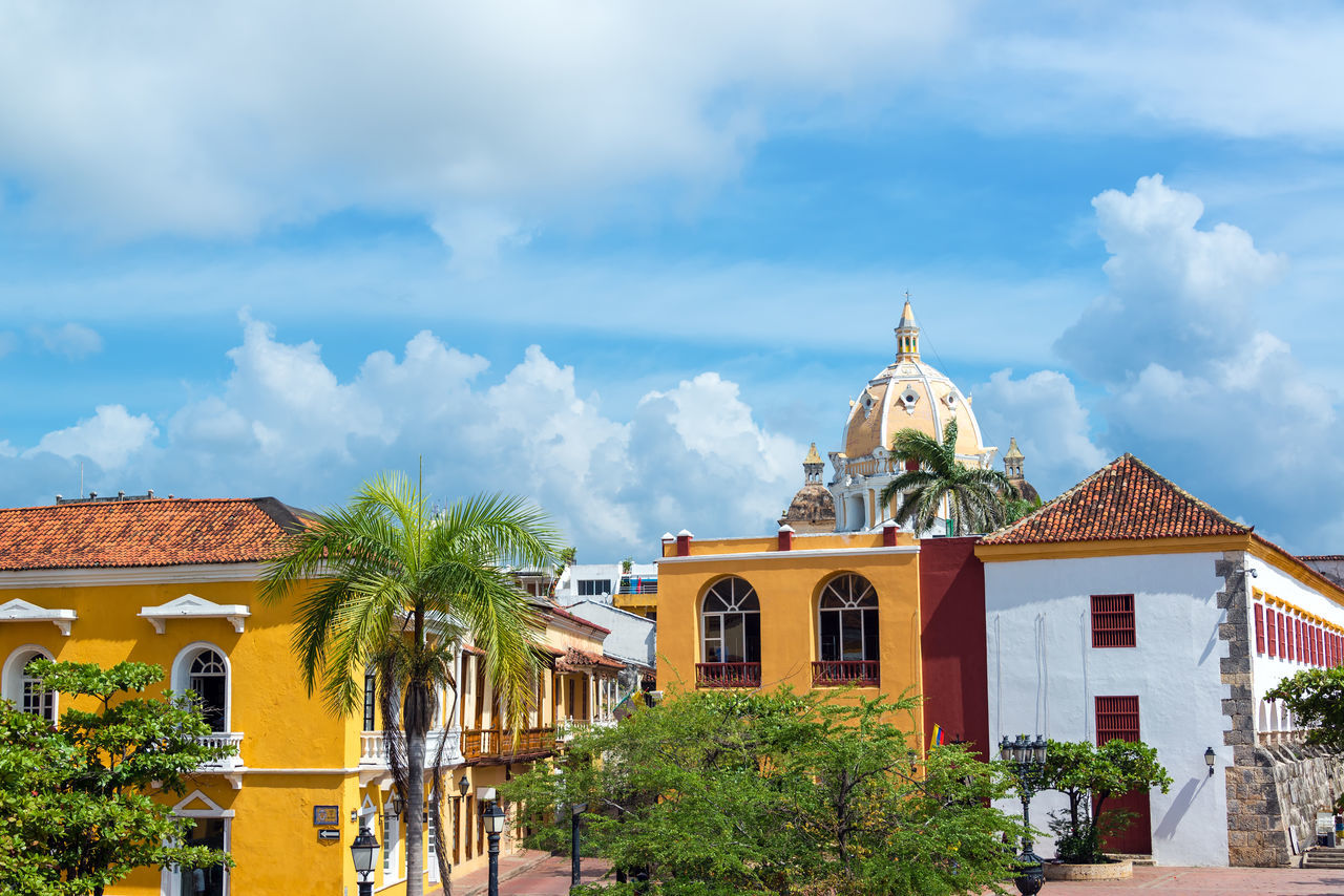 Historic colonial buildings and San Pedro Claver church in the center of Cartagena, Colombia America Architectural Architecture Beautiful Building Buildings Cartagena Castle Cathedral Church City Cityscape Colombia Colonial Design Downtown Façade Heritage Historical Landmark Latin Monuments Outdoors San Pedro Claver South
