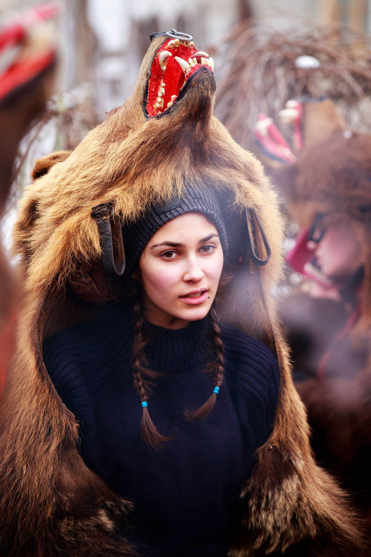 Adult Beautiful Woman Close-up Day Fashion Focus On Foreground Fur Fur Coat Leisure Activity Lifestyles Looking At Camera One Person Outdoors People Portrait Real People Warm Clothing Winter Young Adult Young Women
