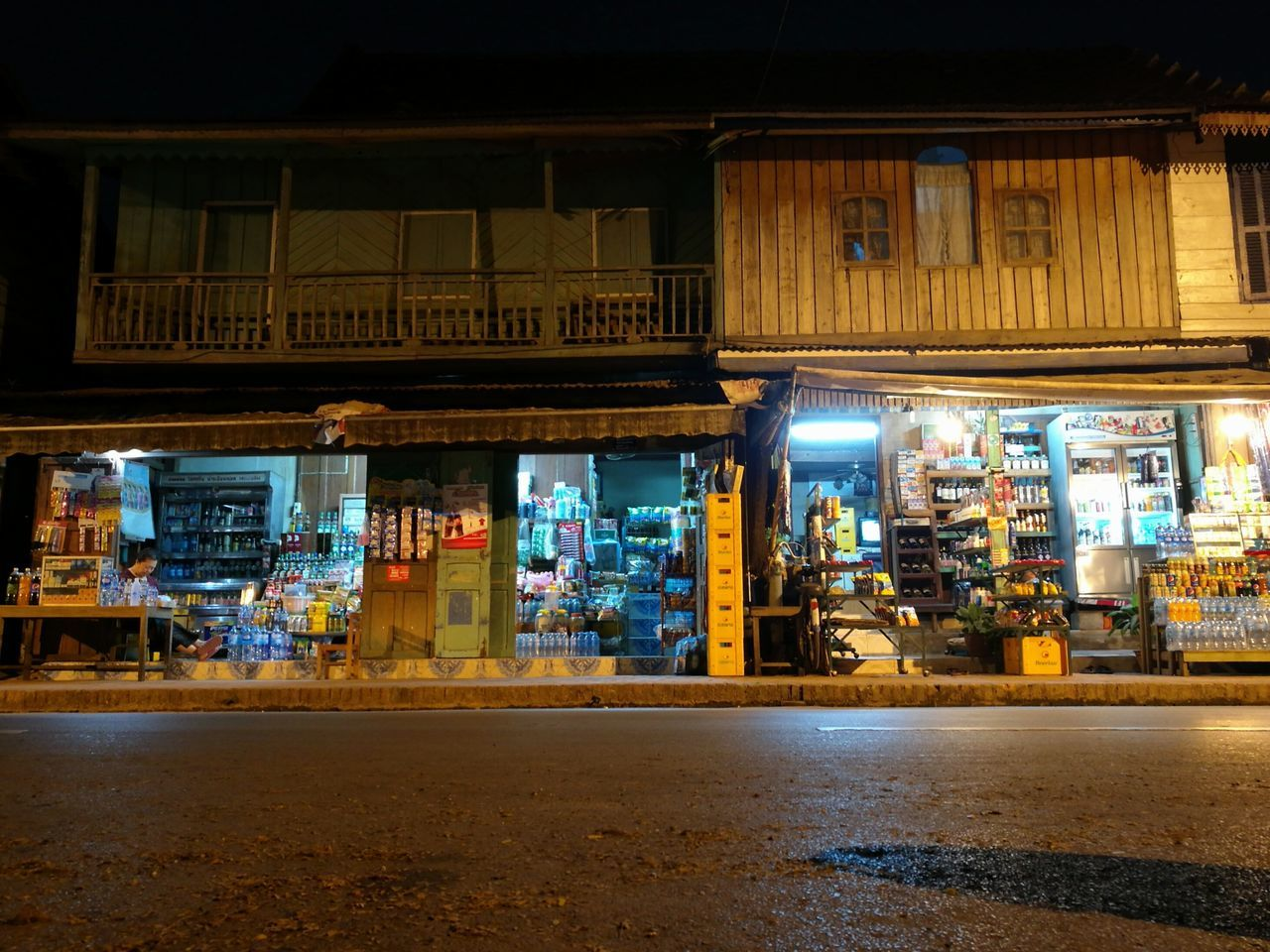 Illuminated Night City Store Building Exterior Architecture No People Outdoors Neon Supermarket EyeEmNewHere Laos Travel Asianstyle Asianlife Asien Street Photography Built Structure Lao Culture Travel Building City Architecture