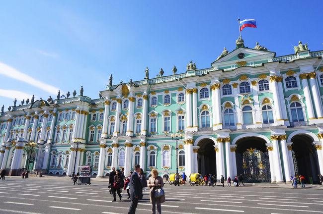 2014 Architecture Day Hermitage Museum Outdoors Russia Saint Petersburg Sky Санкт-Петербург エルミタージュ美術館 サンクトペテルブルク ロシア People Museum Plaza 冬宮殿