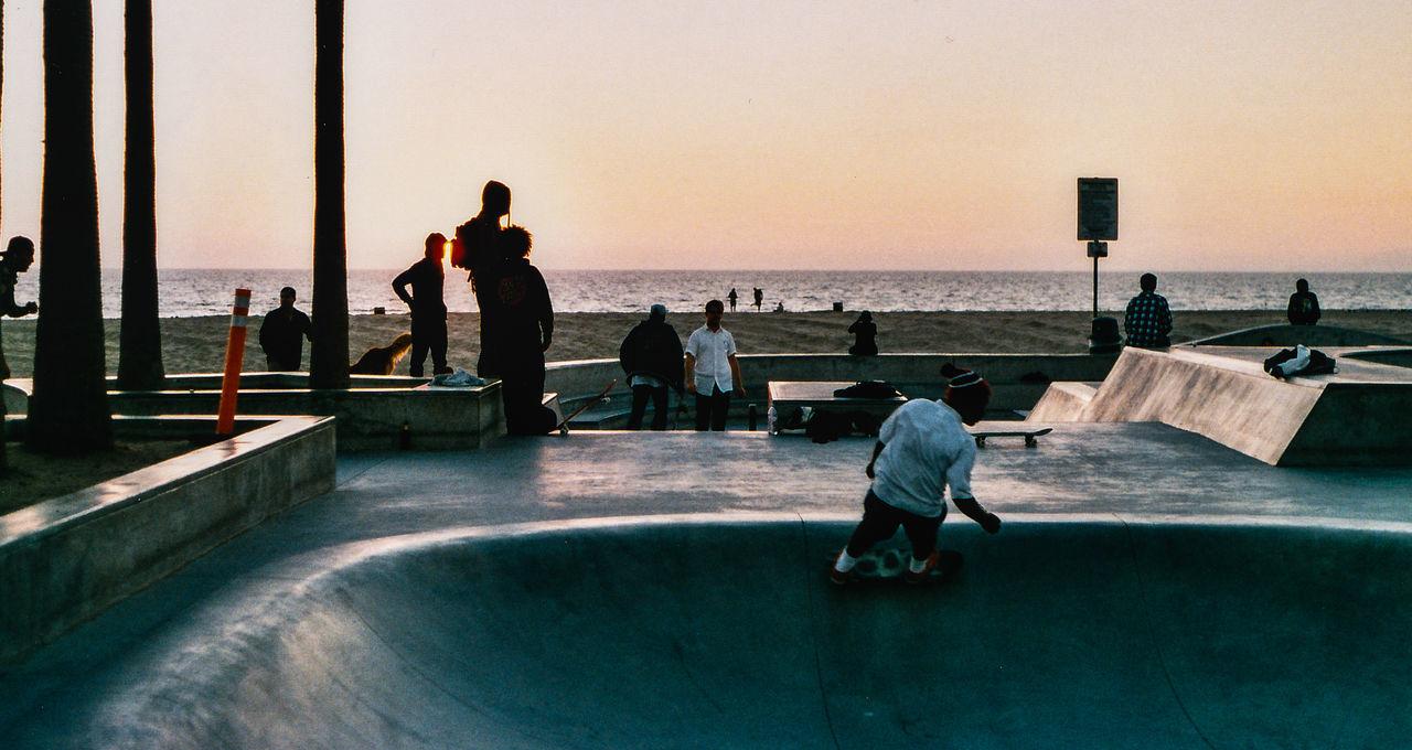 People In Skate Park By Sea