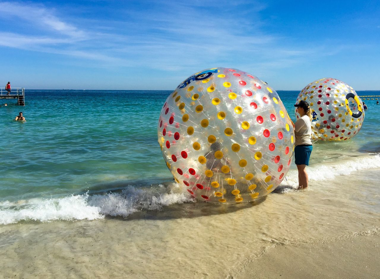 Walking on Water Leisure Activity Recreational Pursuit Life Is A Beach Beach Lifestyle Coogee, WA Water Western Australia Indian Ocean Sea People Beach Turquoise Water Coogee Beach Festival Event Festival Entertainment Plastic Ball Balls Water Balls Walking On Water Swimming April 3,2016 Kids Families
