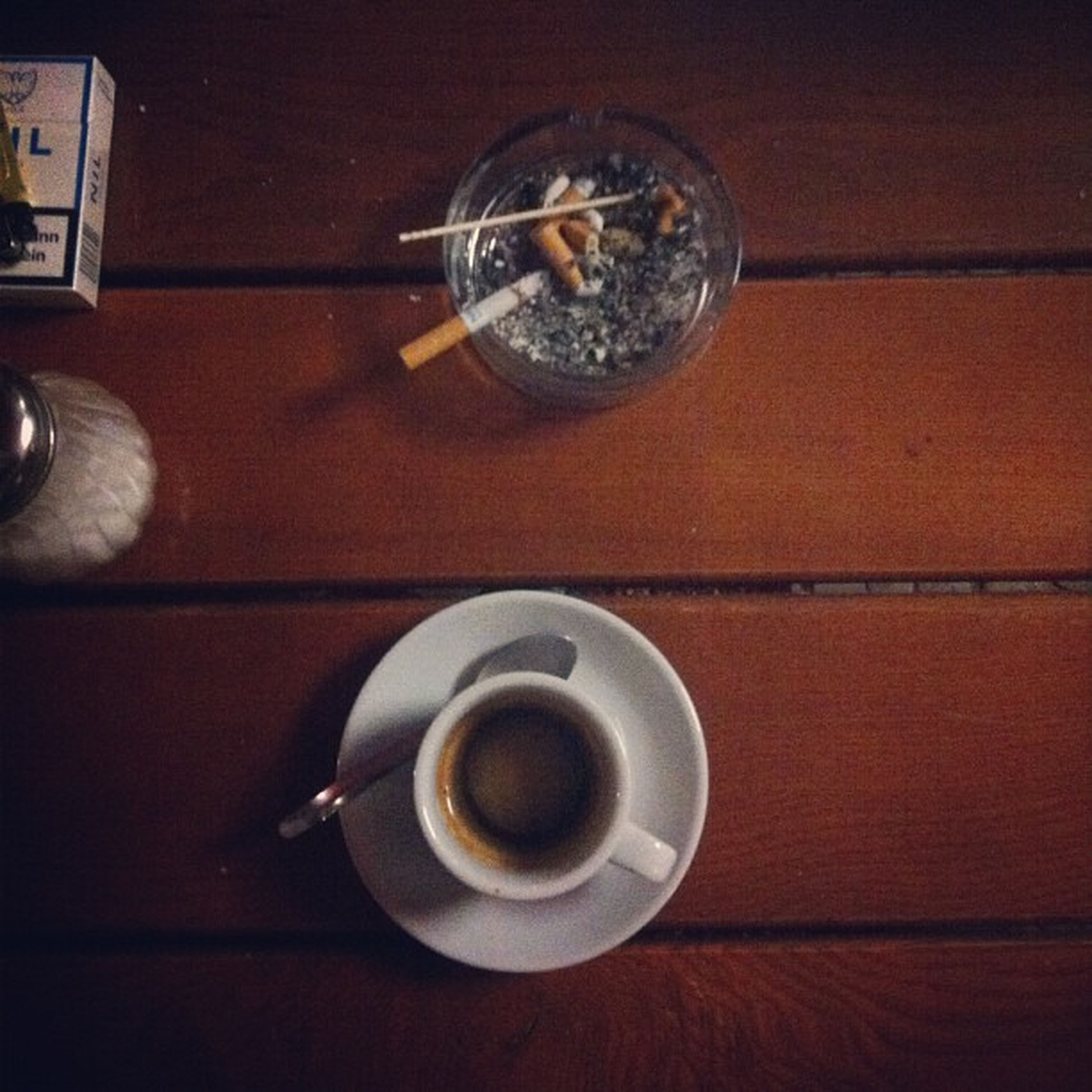 indoors, table, drink, still life, coffee cup, high angle view, close-up, food and drink, refreshment, spoon, directly above, saucer, no people, coffee, cup, coffee - drink, wood - material, reflection, circle, frothy drink