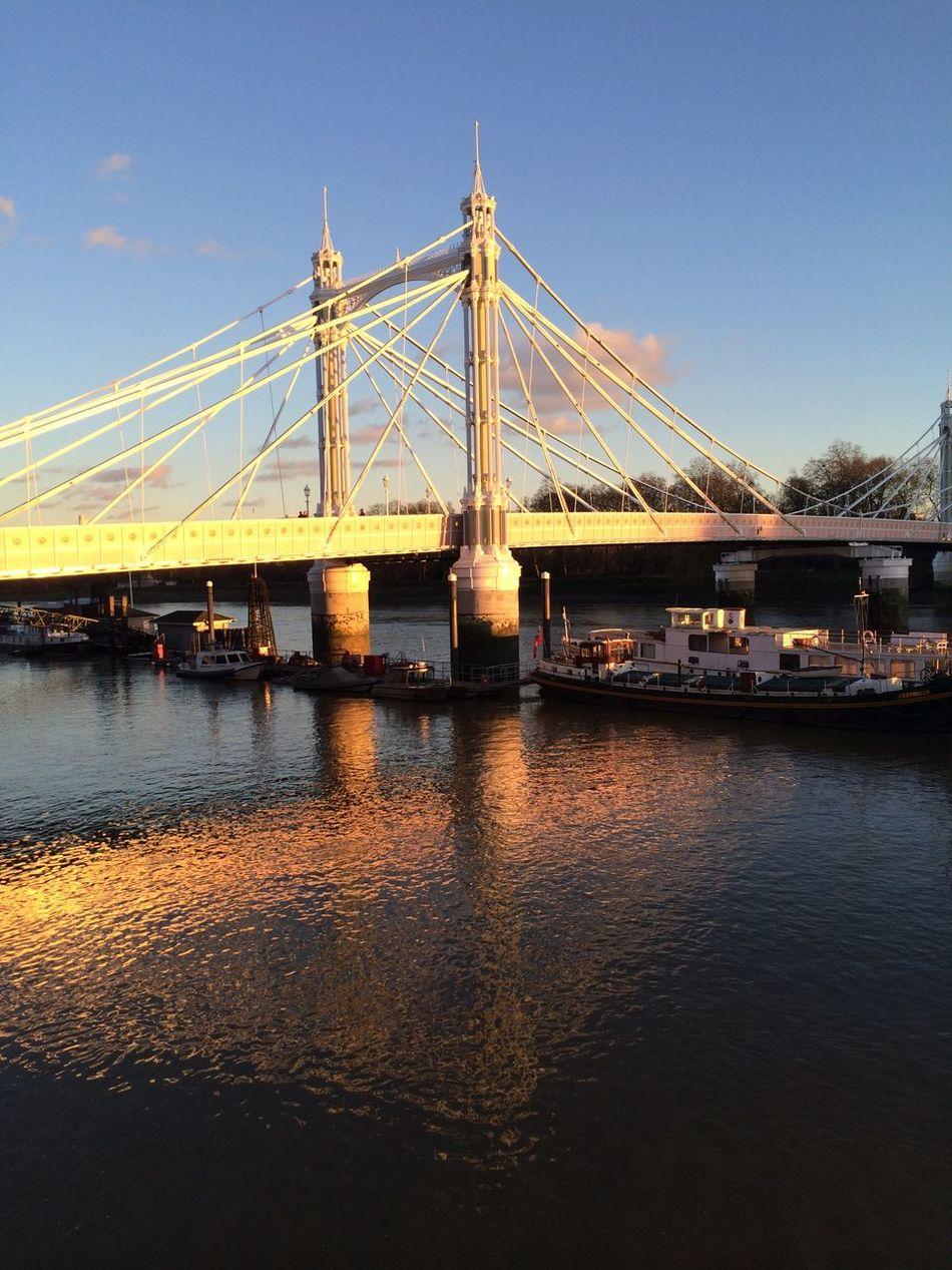 Albert Bridge Chelsea City Day England London No People Outdoors River Thames Sky Uk Water Waterfront