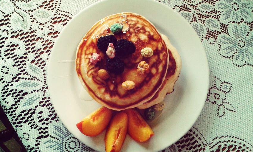 Scotch Pancake Breakfast Enjoying A Meal