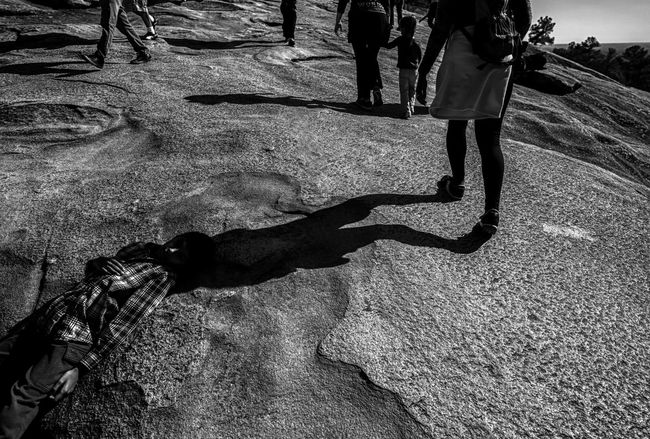 Playing Dead Telling Stories Differently Boy Black And White Monochrome Stone Mountain Hiking People Photographyisthemuse Nikon D750 Tamron 15-30mm Light And Shadow Outdoors Textures And Surfaces Walking Lying Down Atlanta Stone Mountain Exercise Fine Art Photography