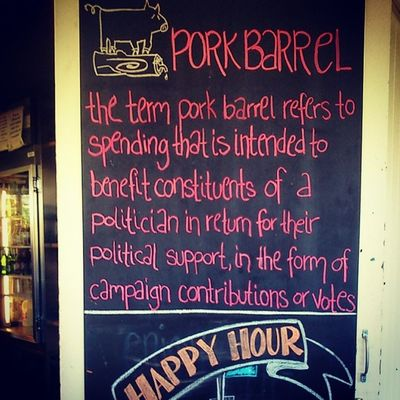 Learnt a new phrase today: Porkbarrel ... a mini-celebration of sorts, though we've not received any benefits thus far ;-)