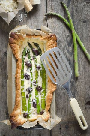 Asparagus Casserole Food Lunch Olives Puff Pastry Rustic Wooden Texture Background First Eyeem Photo