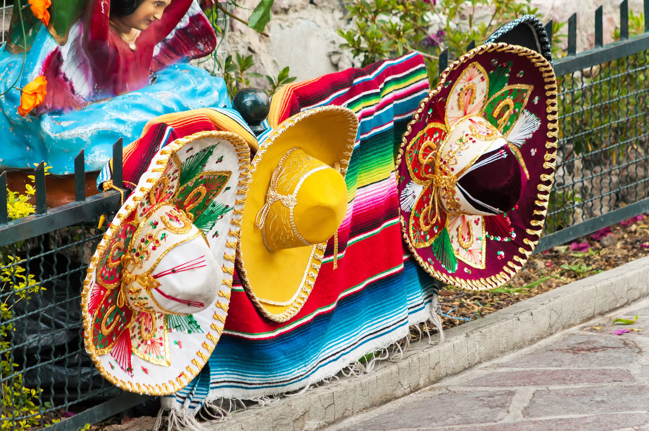 Row of Mexican sombreros in Mexico City Catholic City Color Colorful Culture Day Decor Df Faith Flower Guadalupe Hat Hats Mary Mexican Mexico Mexicocity  Multi Colored Outdoors Religion Religious  Row Sombreros Urban Virgin