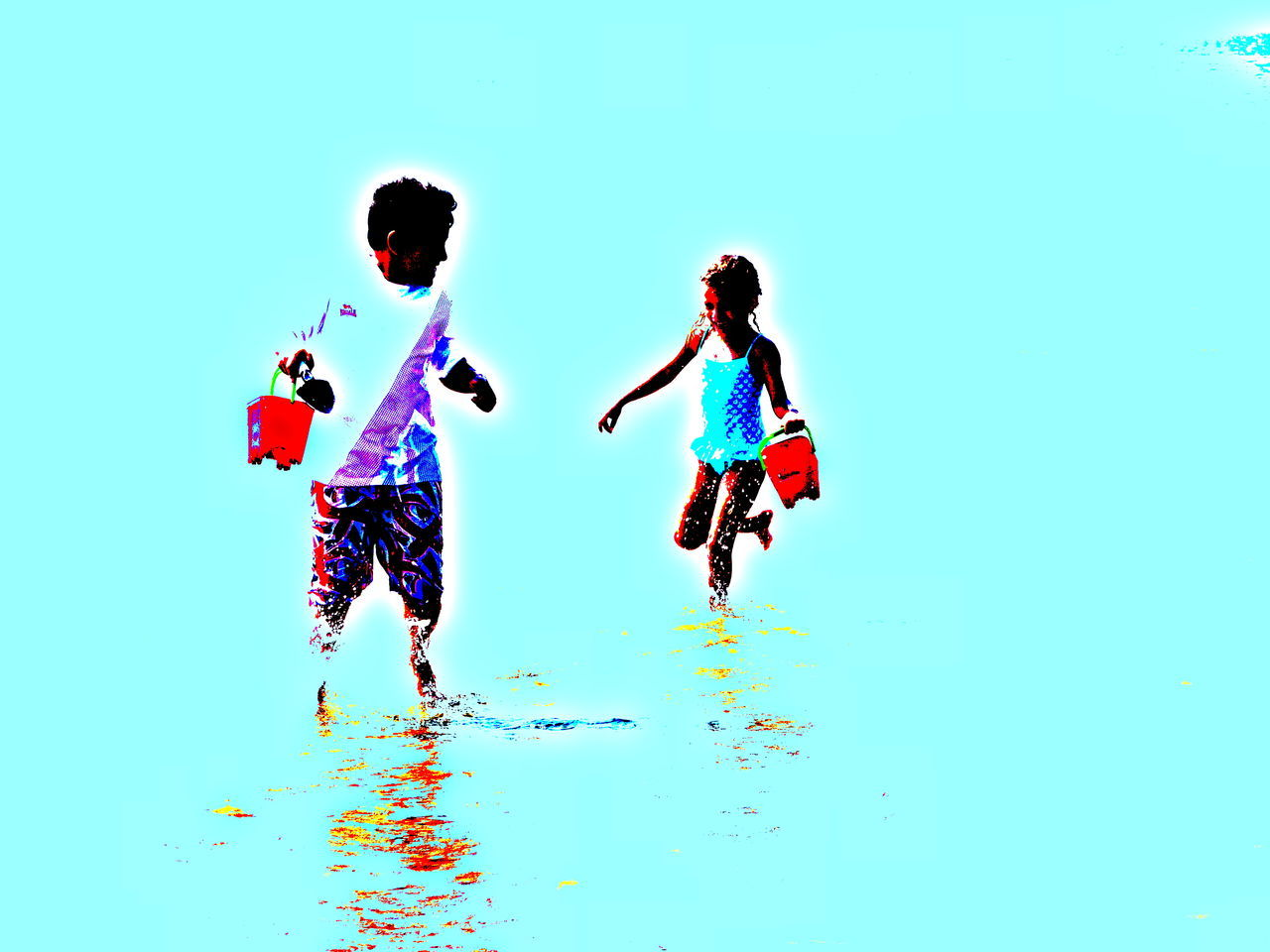 Children playing on a beach Beach Carefree Children Fun Leisure Activity Manipulated Playing Recreational Pursuit Sea