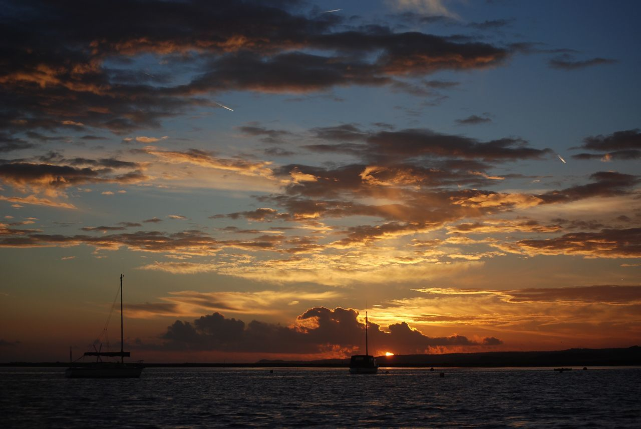 Sky Sunset Water Sea Cloud - Sky Scenics Beauty In Nature Waterfront Tranquility No People Outdoors Nature Tranquil Scene Silhouette Nautical Vessel Sailing Day