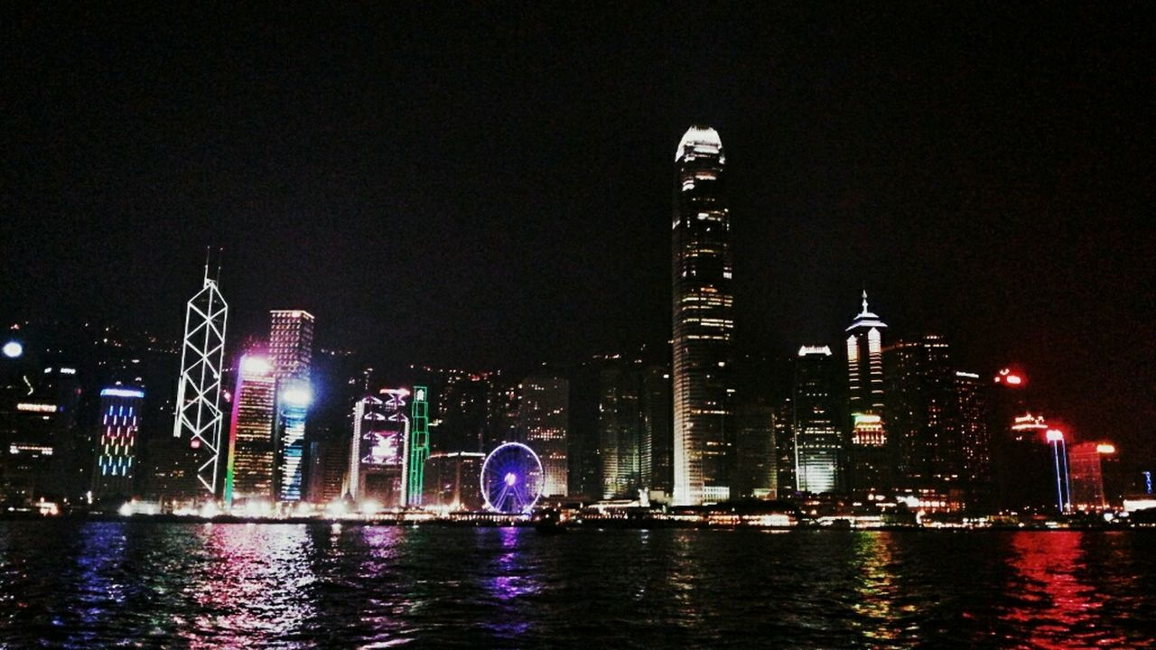 Hongkonger Skyline Night Photography EyeEm Hong Kong Hongkong Island Ferrywheel The Traveler - 2015 EyeEm Awards Cityscapes