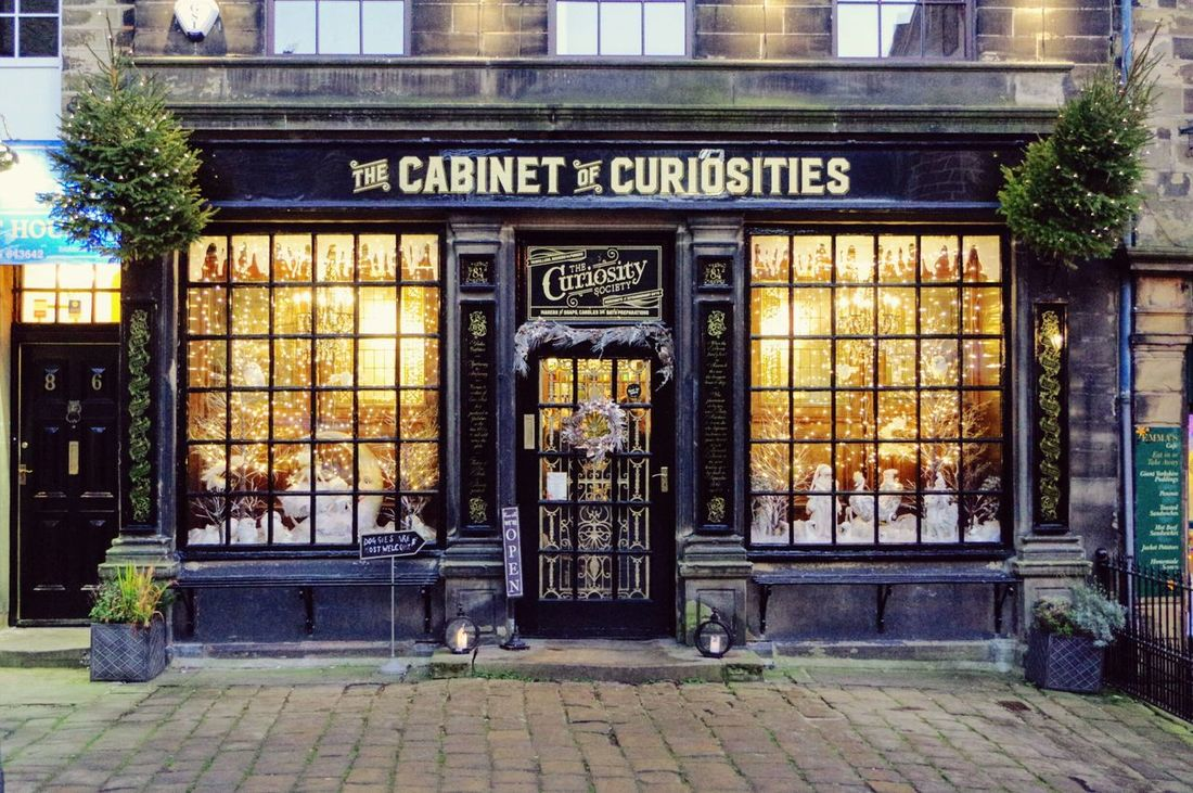 Building Exterior Entrance Architecture Built Structure Communication No People Door Outdoors Text Travel Destinations City Day The Cabinet Of Curiosities Store Window Curiosity Shop Festive Window Townscapes Christmas Decorations Christmas Haworth Yorkshire Shopping Time Tourist Attraction  Victorian Shop