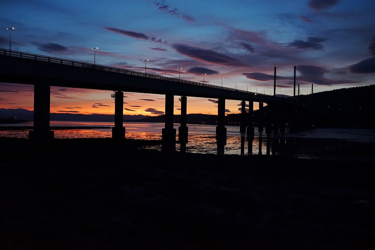 connection, sky, water, sunset, built structure, bridge - man made structure, architecture, cloud - sky, river, silhouette, nature, bridge, dusk, no people, outdoors, scenics, landscape, beauty in nature, day, city