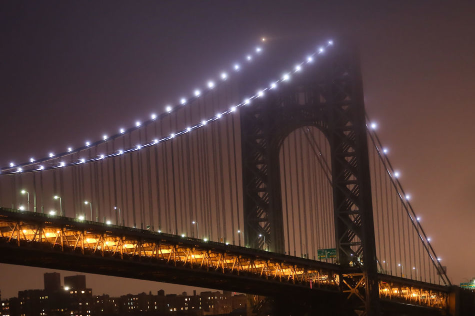 Architecture Bridge - Man Made Structure Built Structure Chain Bridge Connection George Washington Bridge Illuminated Modern New York City Night No People Outdoors Sky Suspension Bridge Water