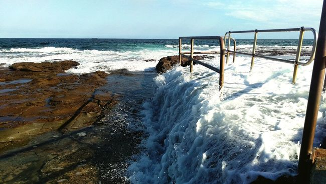 Newcastle Ocean Baths Sea Water Wave Splashing Scenics Beauty In Nature Breaking Tide Outdoors Motion Nature Surf IPhoneography Taking Photos Australia Enjoying Life Hanging Out Summer