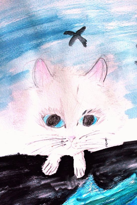 Kids Crafts Cats 🐱 Drawing Project Cats Gallery Watercolor Painting Blue Eyed Cat