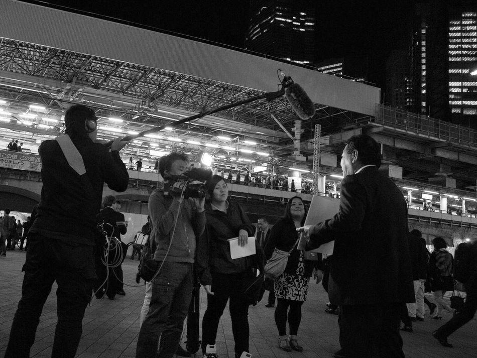 Night People Interview Television CityWalk Snapshot On The Road Streetphotography_bw B&w Street Photography Train Station Businessman Nightphotography City Life at Shinbashi Shimbashi 新橋 , Tokyo Japan