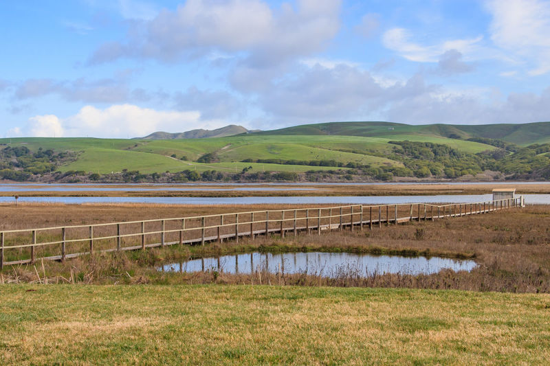 Tomales Lagoon, Point Reyes, California Point Reyes Point Reyes National Seashore USA Agriculture Beauty In Nature Cloud - Sky Day Field Grass Growth Inverness, Calif Landscape Mountain Nature No People Outdoors Rural Scene Scenics Sky Tomales Lagoon Tranquility Water