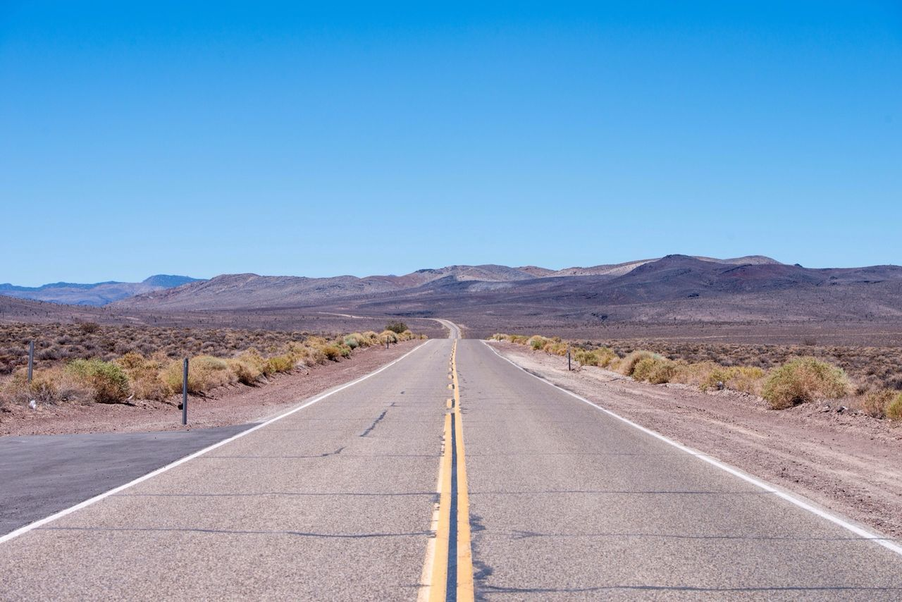 Beautiful stock photos of road, Arid Landscape, Barren, Clear Sky, Copy Space