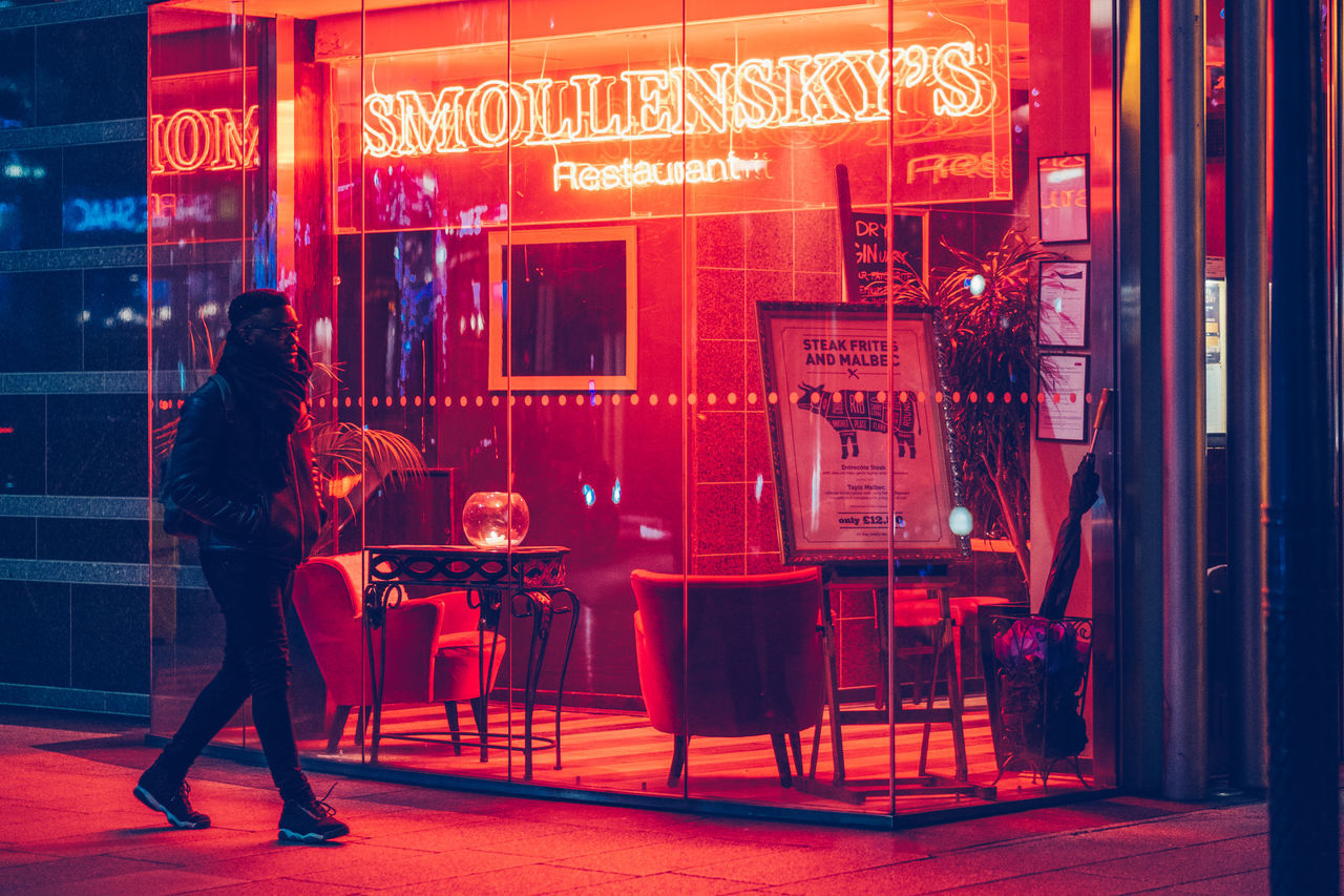 Canary Wharf Bar Grill Illuminated Lights Neon Neon Lights Night Nightlife One Man Only One Person Red Restaurant Signage Urban