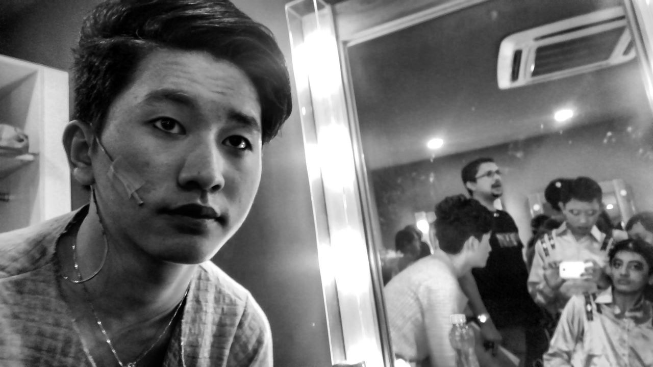 Getting nervous for the performance. Lead Role Lead Actor People Actor Life Passion Act Creativity Portrait The Portraitist - 2016 EyeEm Awards EyeEm Gallery EyeEm Best Shots Monochrome Shadow Light Face Black White Theater