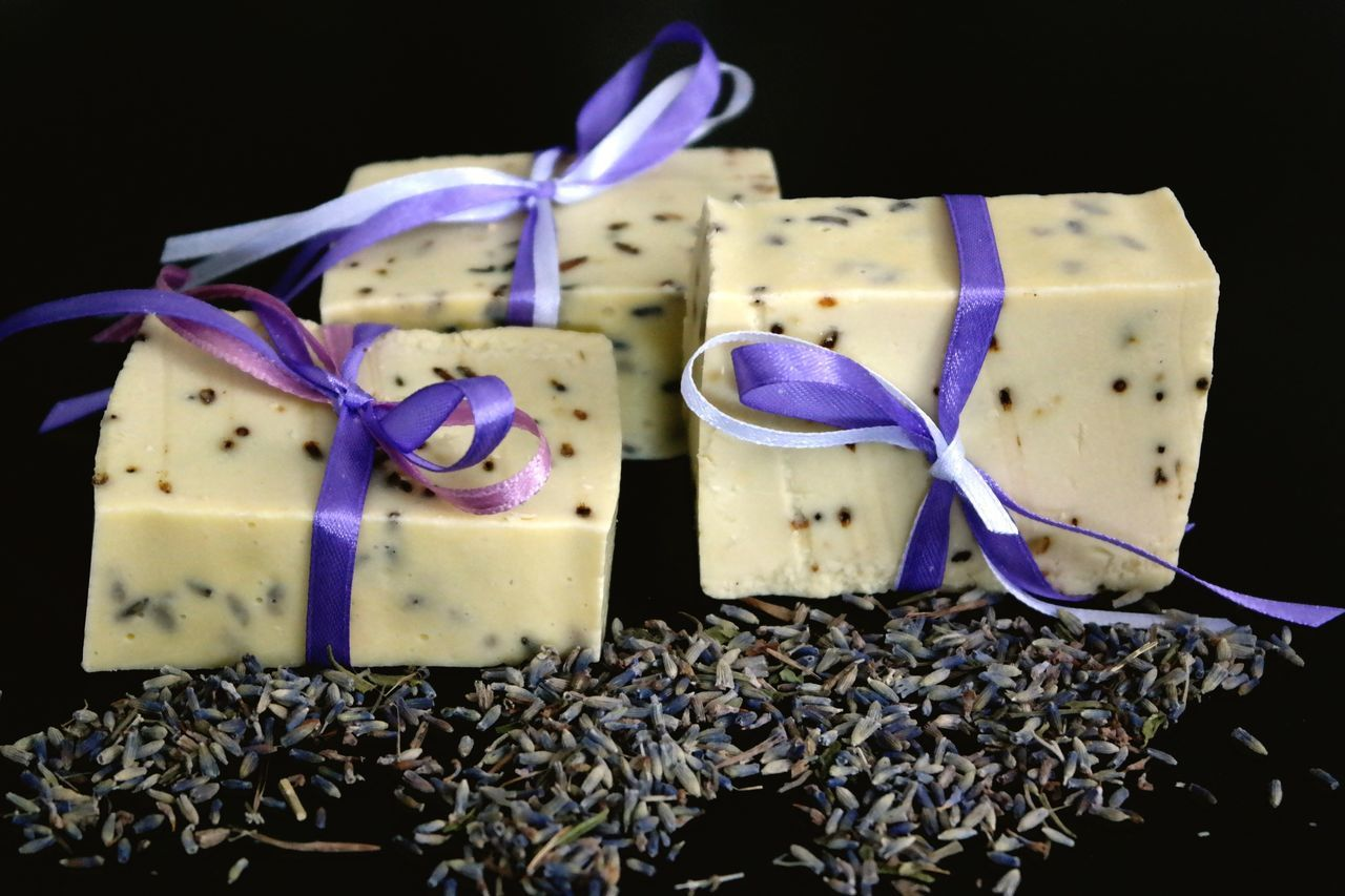 Soaps With Lavender Seeds On Table