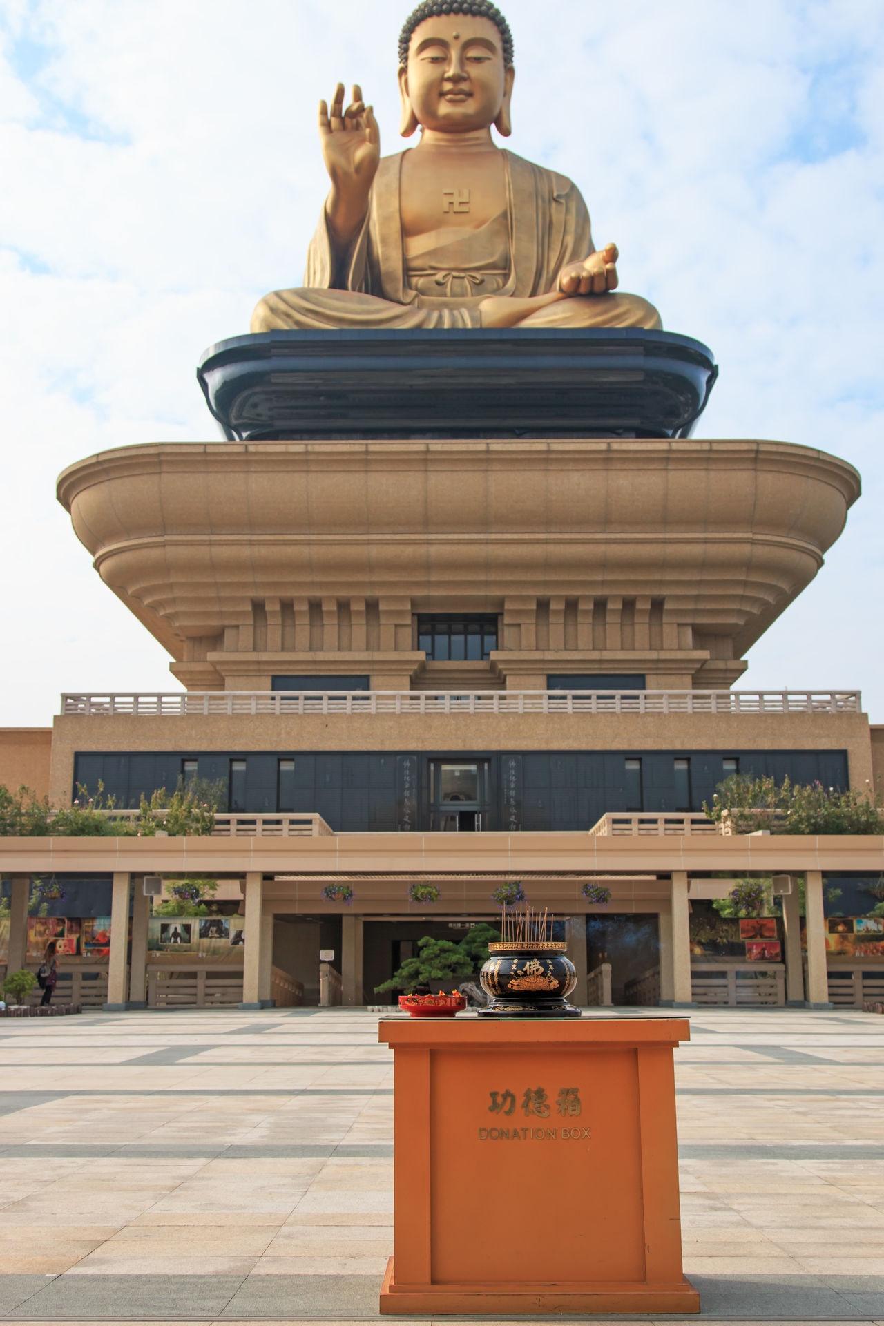 Kaohsiung, Taiwan - December 15,2014: Giant buddha and incense at the Fo Guang Shan of Taiwan, Kaohiung Architectural Column Architecture Art ASIA Asian Culture Buddhist Built Structure China City Cloud Cloud - Sky Creativity Culture Day Fo Guang Shan Kaohsiung Low Angle View Orient Outdoors Sculpture Sky Statue Taiwan Tourism Travel Destinations