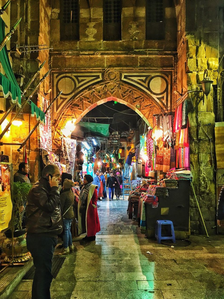Khan AL-Khalili. Egypt Large Group Of People Night Real People Illuminated Architecture Adapted To The City Adapted To The City With Land Rover Egypt