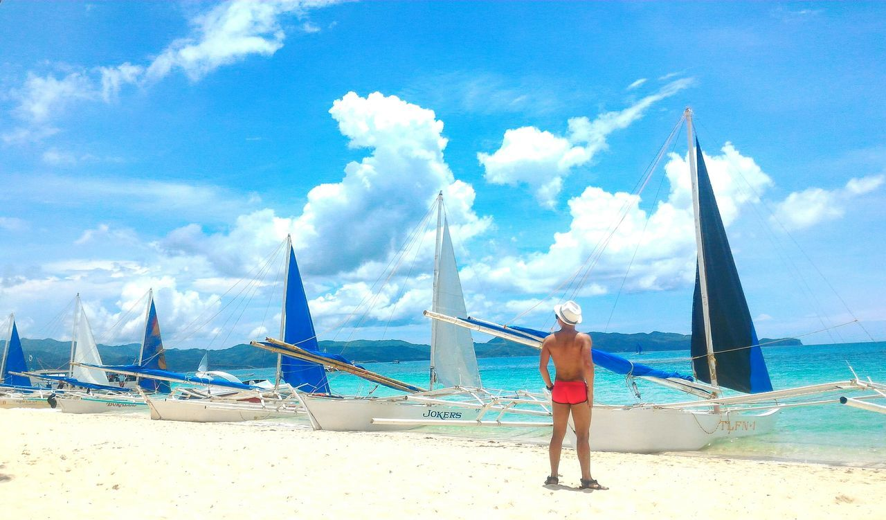 Sea Travel Cloud - Sky Beach Sky Travel Destinations Water Rear View Outdoors Vacations Adult Boracay Island, Philippines Boracay Sexyback Beachbum Beachphotography Paraw Parawsailing Tanning Summer Vibes Pinoy Traveldiary Sexymen Menofoutdoors Itsmorefuninthephilippines