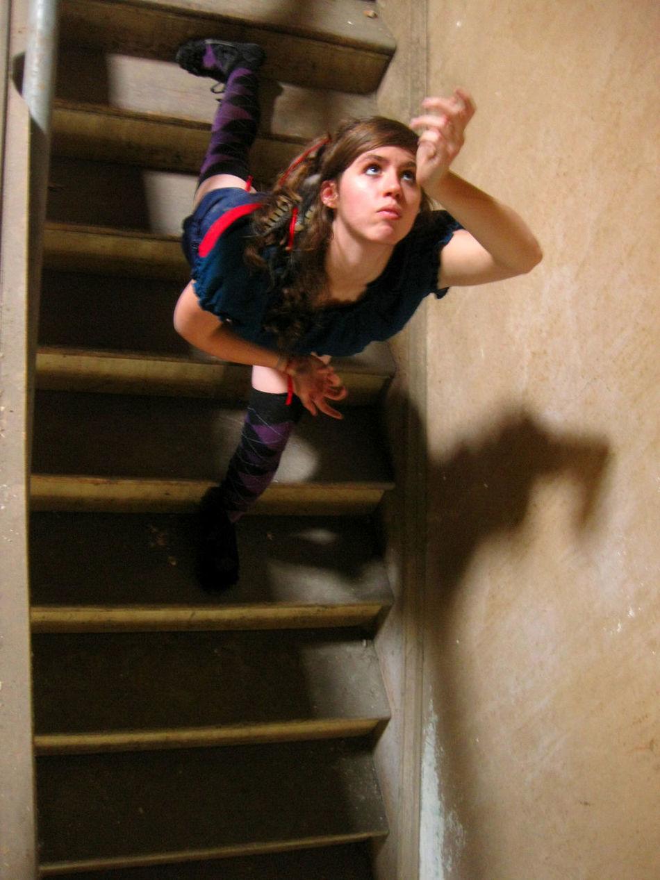 UpsideDownside Aliceinwonderland Escherish Indoors  Magical Mindscape Spacialdislocation Staircase Staircase Vertigo Steps And Staircases Young Women First Eyeem Photo