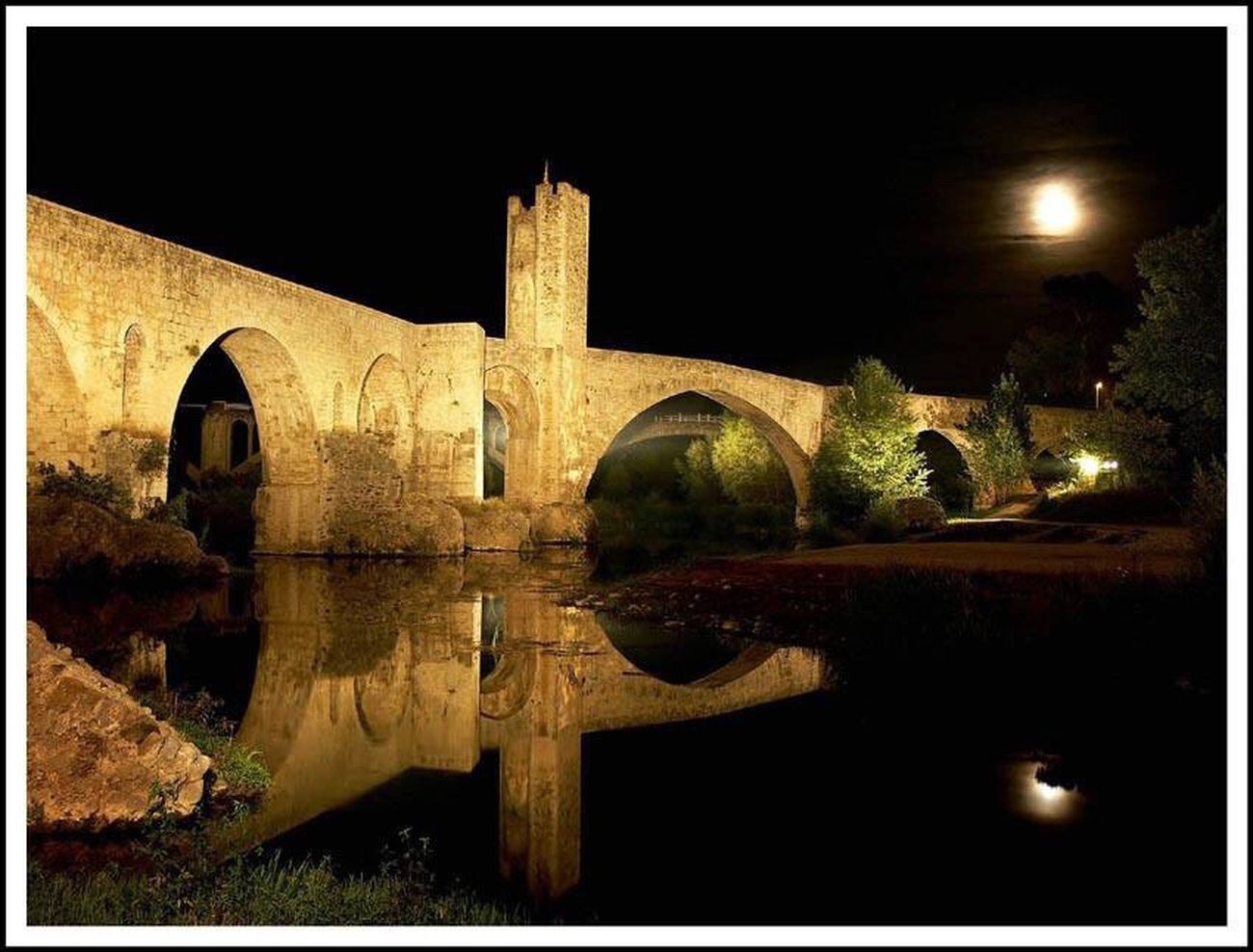 Architecture Built Structure History No People Illuminated Outdoors Night Tree Sky Medieval Bridge Romanesque Catalunya Catalonia Garrotxa Besalú