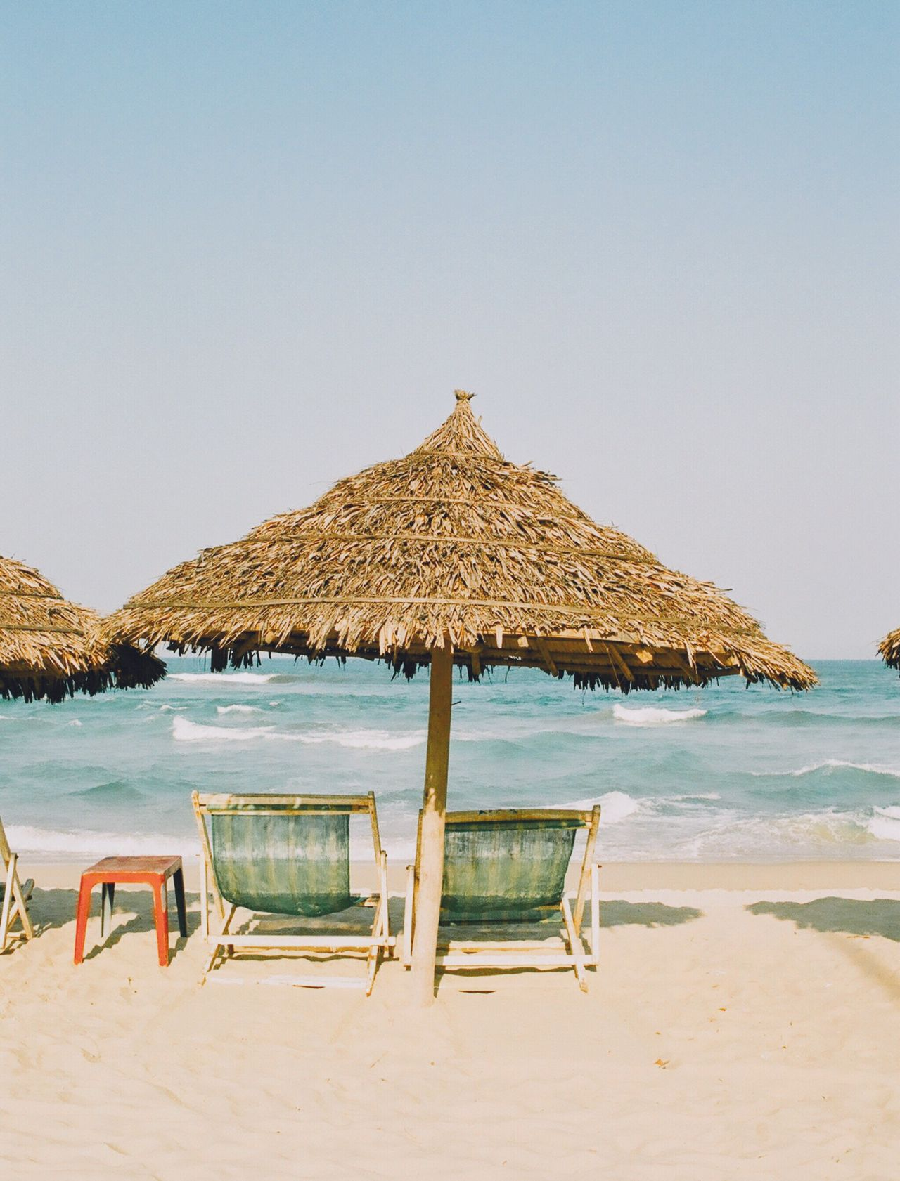 Film Photography Analogue Photography Filmisnotdead Vietnam Danang Holiday Travel Relaxing Mykhebeach Beach Sand Thatched Roof Clear Sky Sea Water Tranquility Relaxation Nature Beauty In Nature Sun Lounger Vacations Tranquil Scene Outdoors Scenics Calm No People Day