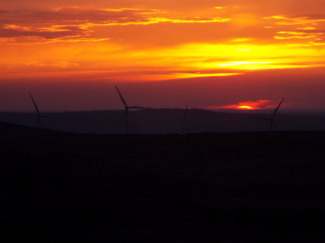 The sun has almost gone!! Pennines Pennine Moors Wind Turbines Silhouette Silouette & Sky Sunset Red Sky Red 43 Golden Moments