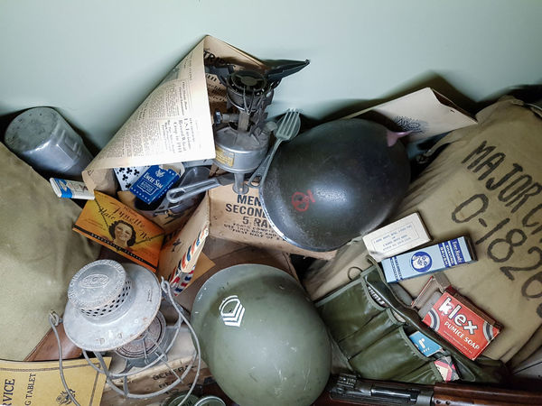 Overlord Museum, Colleville-sur-mer, Normandy, France, July 2017 D-Day II War World. Overlord Museum Exhibition Exhibits Exposure Helmets Large Group Of Objects Museum No People Omaha Beach Overlord