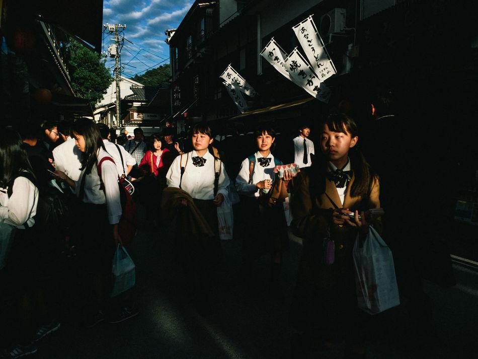 Miyajima, Hiroshima, 2016 Afternoon Japanese  Light And Shadow Mobilephotography School Trip Street Streetphotography Student Students