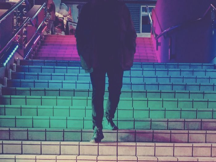 EyeEmNewHere Staircase One Person Steps And Staircases Steps Low Section Real People Men Outdoors Colorful Rainbow Rainbow Colors 80s Odaiba