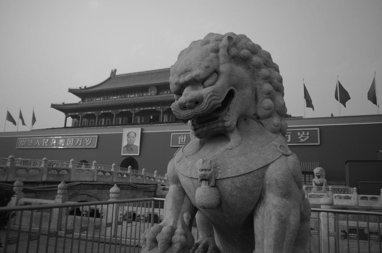 Black & White Building Exterior Built Structure Forbiden Lion Mao Monochrome Sculpture Statue