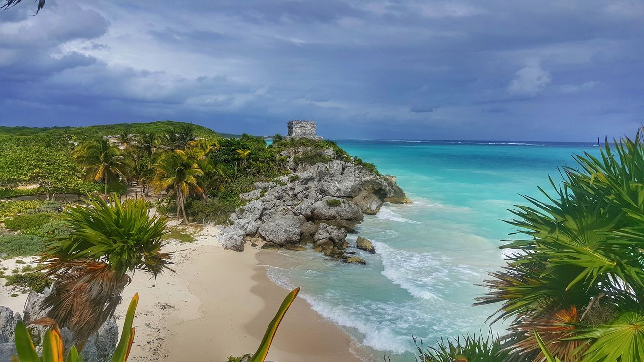 Welcome to paradise. Sea Water Tree Beach Landscape Horizon Over Water Sky Cloud - Sky No People Underwater Outdoors Nature Palm Tree Beauty In Nature Postcard Day Close-up Mexico Tulum Ruins Tulum , Rivera Maya.