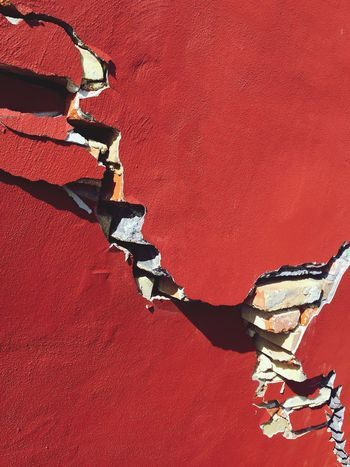 Wall Cracked Crack Broken Red Red Wall Redwall Dark Red  Copy Space Brick Wall