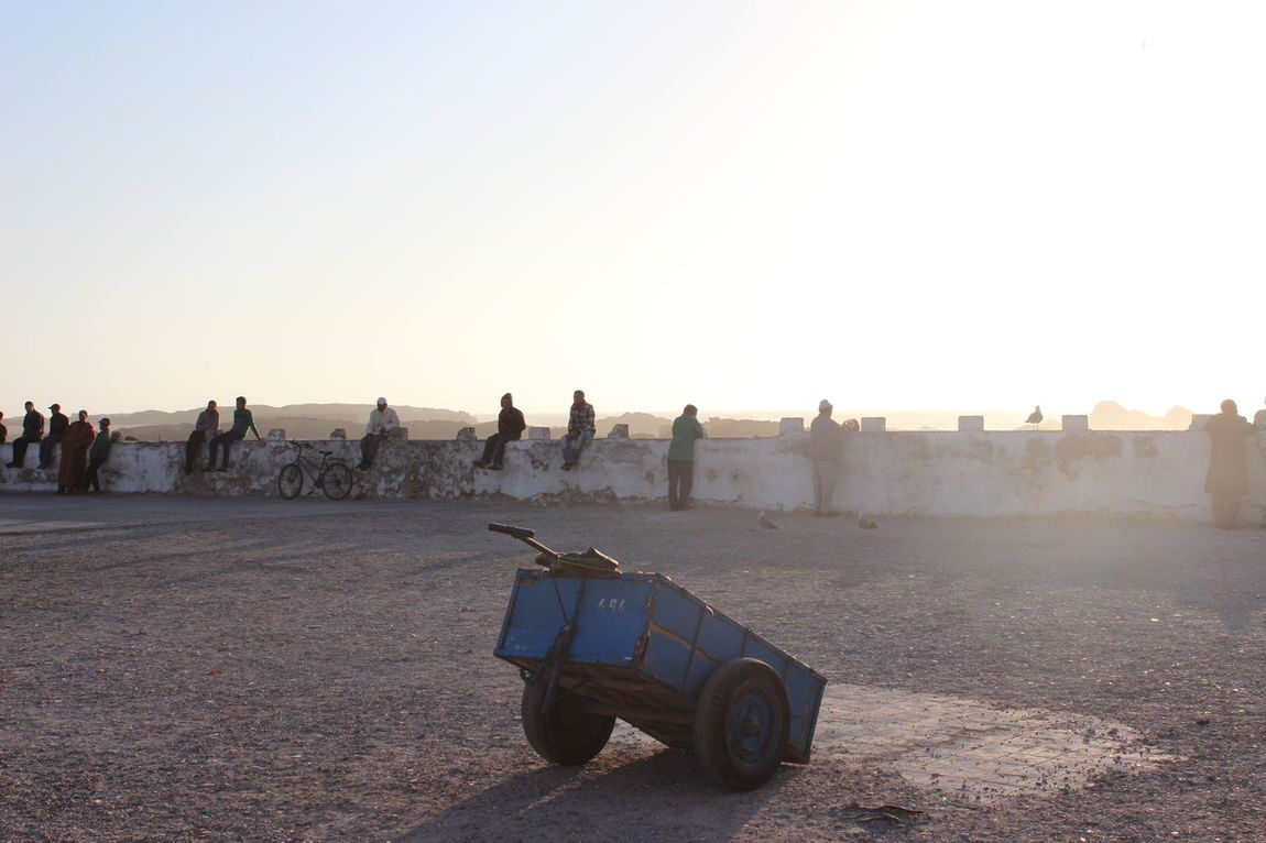 Morocco Essaouira Castelo Real Wall People Standing Trolley Loneliness Sunset