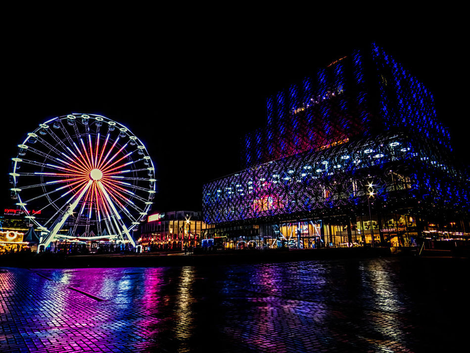 Have a prosperous, healthy and happy 2017 everybody! Illuminated No People Outdoors Architecture Architecture_collection Eyeem Market Urban Geometry Street Photography Street Life Depth Of Field United Kingdom England 🇬🇧 Great Britain City Colourful Colours Birmingham Library Reflection Longexposure Ferris Wheel Heart Night Lights Night Photography Rain Reflection Birmingham, UK
