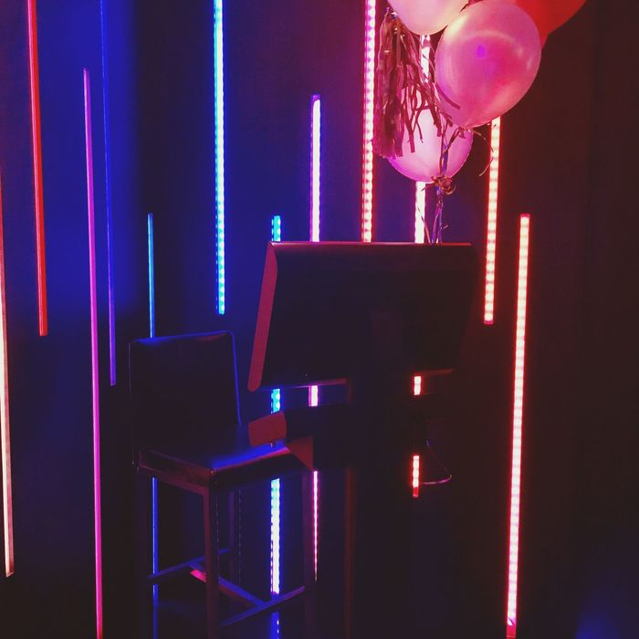 Karaoke Night Fridaynight Year End Party With Girls Stage Light Neon Lights