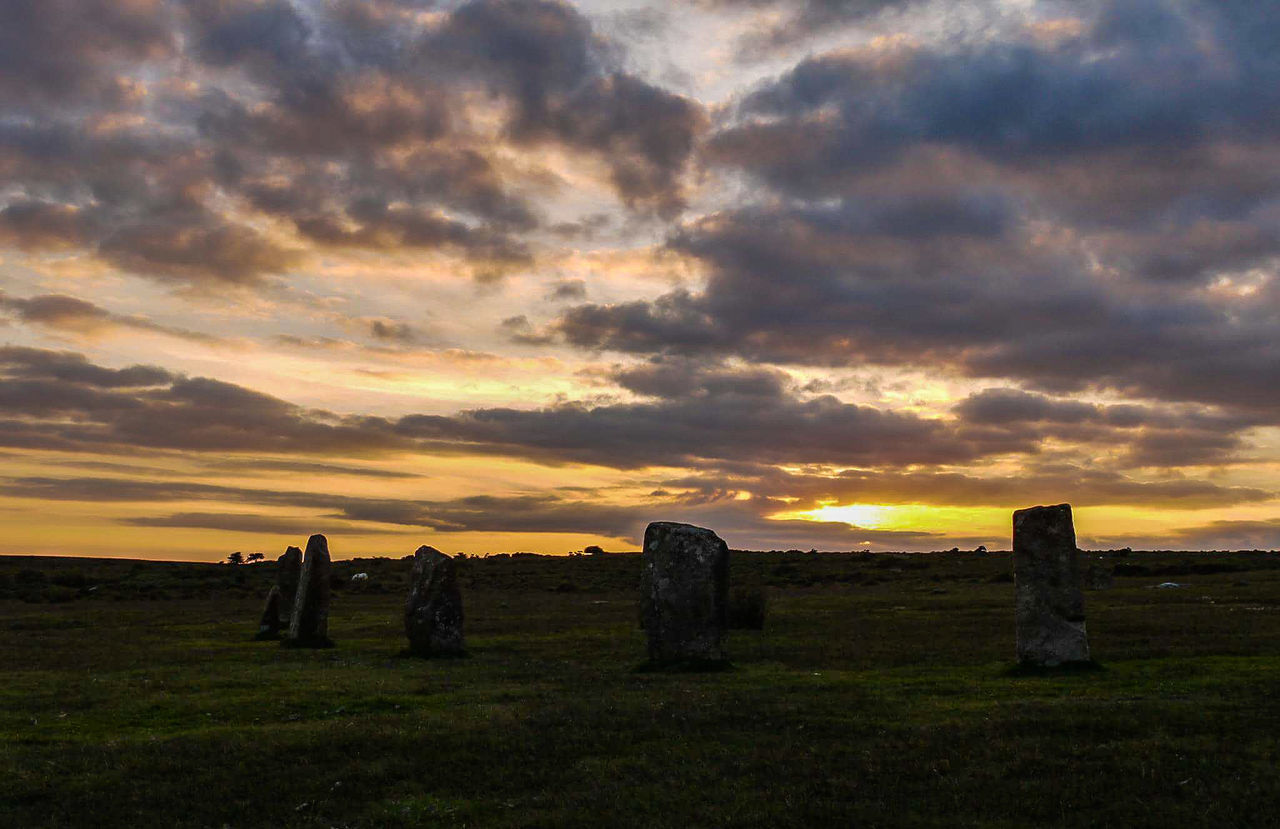 sunset over the Hurlers on Bodmin moor Hanging Out Taking Photos Check This Out Sunset Sky And Clouds Views Cornwall Scenic No People Landscape Beauty In Everything EyeEm Nature Lover Beauty In Nature Summertime Nature Showcase August AMPt_community For My Friends That Connect Ladyphotographerofthemonth Femalephotographerofthemonth Sun Light Granite Rocks The Hurlers
