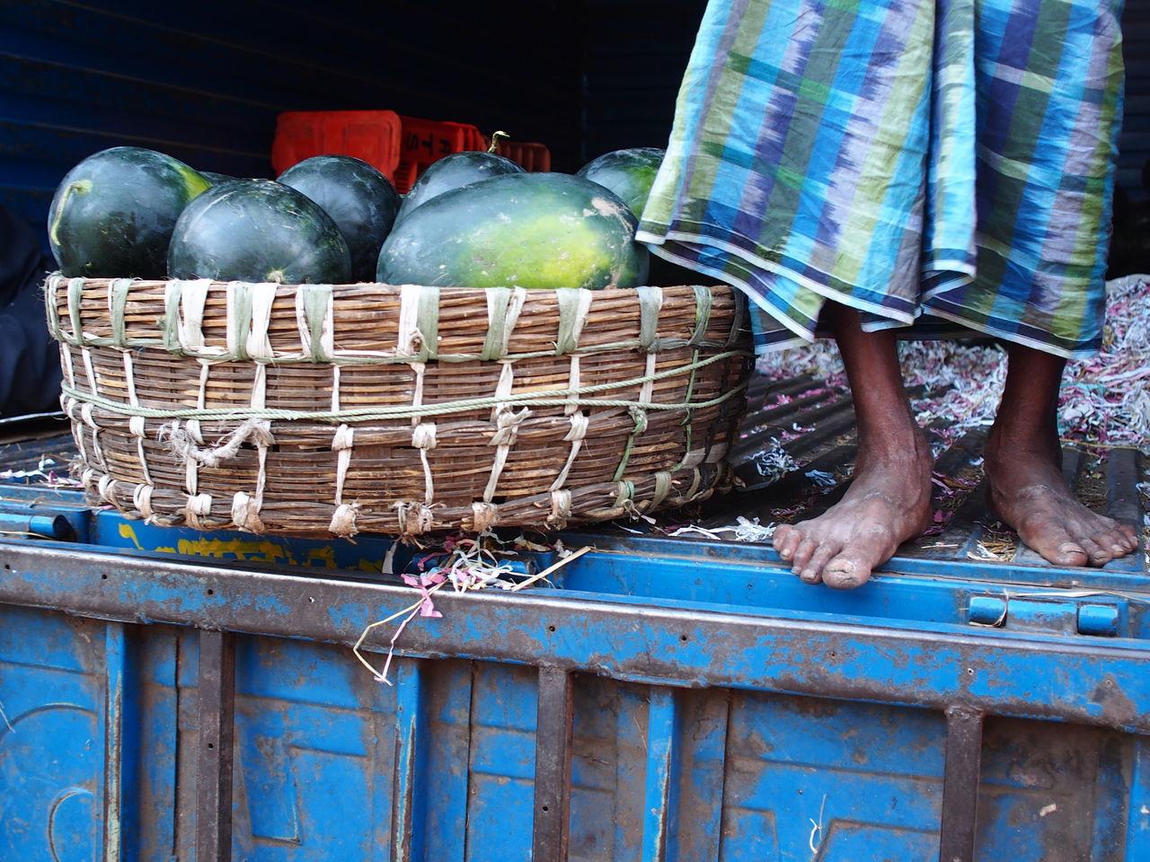 Fruit Vendor Human Leg Life Market Mend At Work People Water Melon